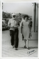 Hemingway Walking with Woman, Spanish Streets