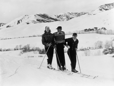 Ingrid Bergman, Gary Cooper, and Clark Gable skiing at Sun Valley.