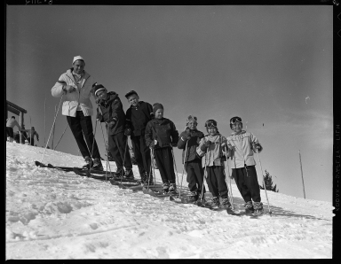 Ernest Krasovic with the Small-Fry race team, Bald Mountain, ID , 1958 January
