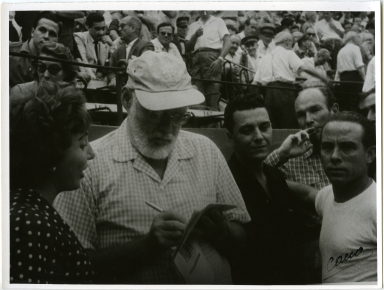 Hemingway Writing at Bullfight