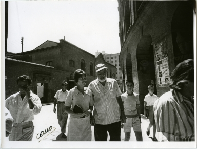 Hemingway Walking With Group, Spanish Streets