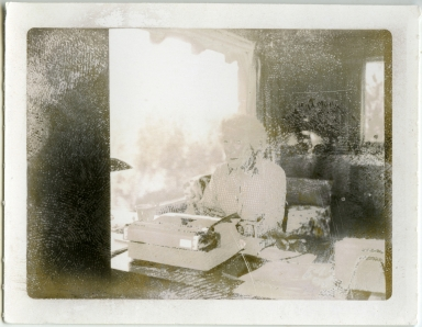 Mary Hemingway at Desk in Ketchum