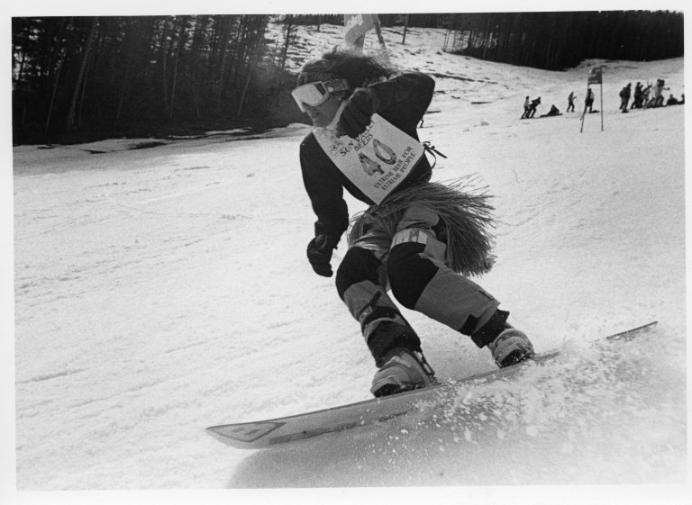[Snowboard racer in Sun Valley Beers., Wood River Journal photo morgue.]