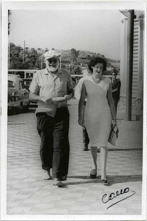 Hemingway Walking with Woman, Spanish Streets