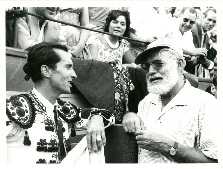 Hemingway and Ordonez at Bullfight, Drinking From Flask