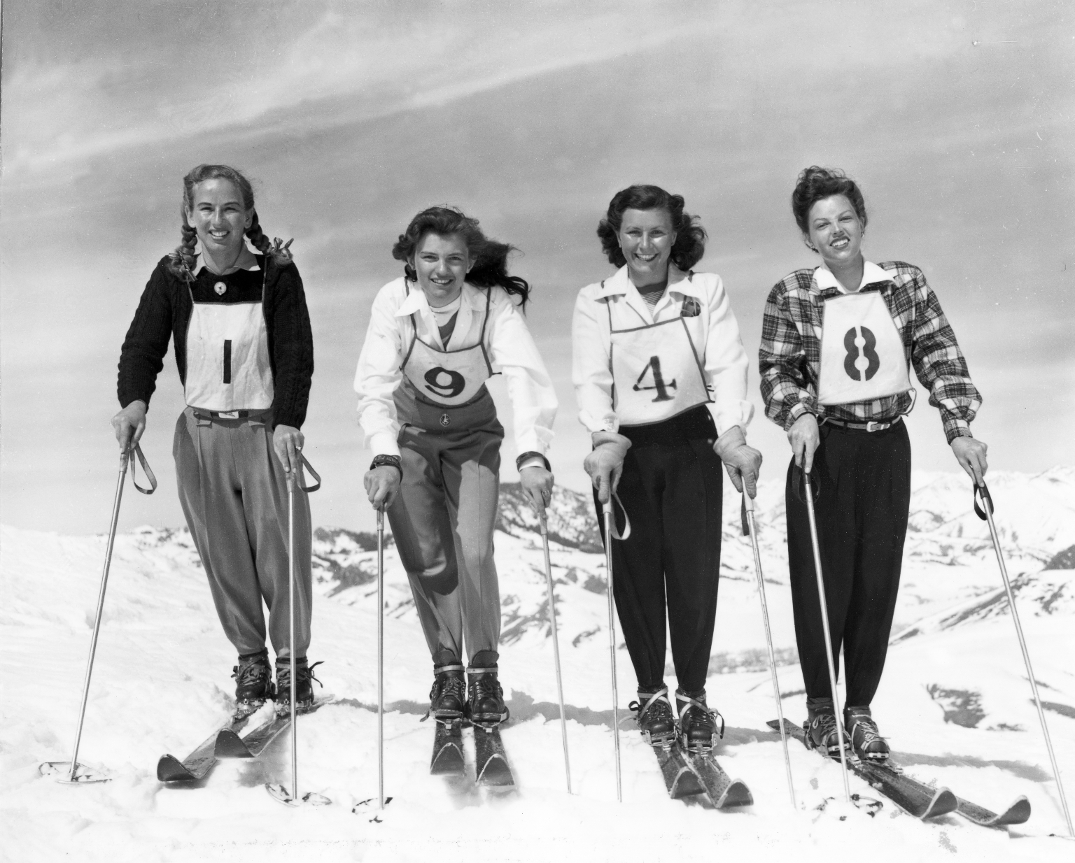 Four members of the 1948 United States Olympic Ski team, women's