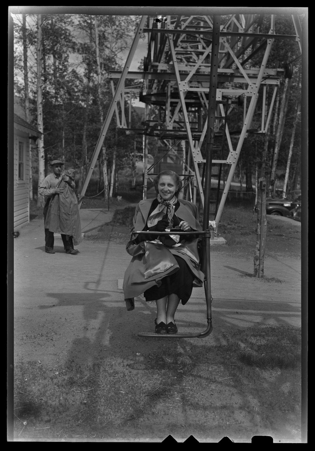 Margaret Truman on chair lift