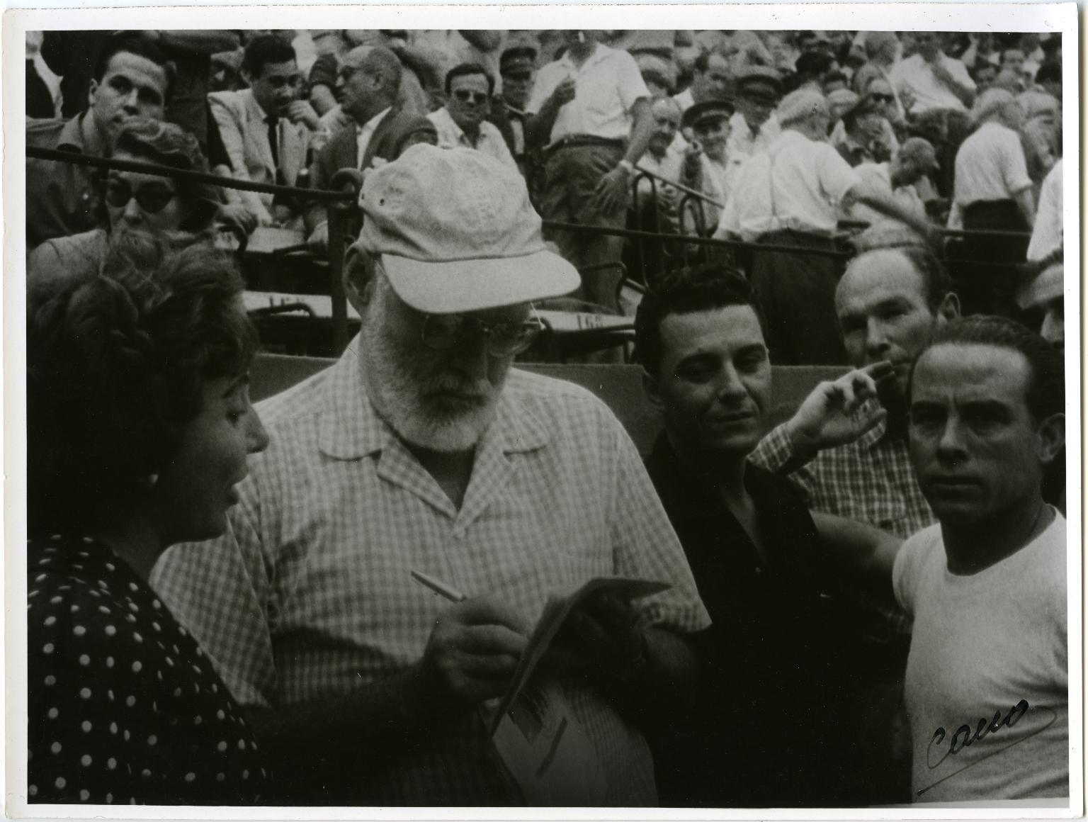 Hemingway Writing at Bullfight