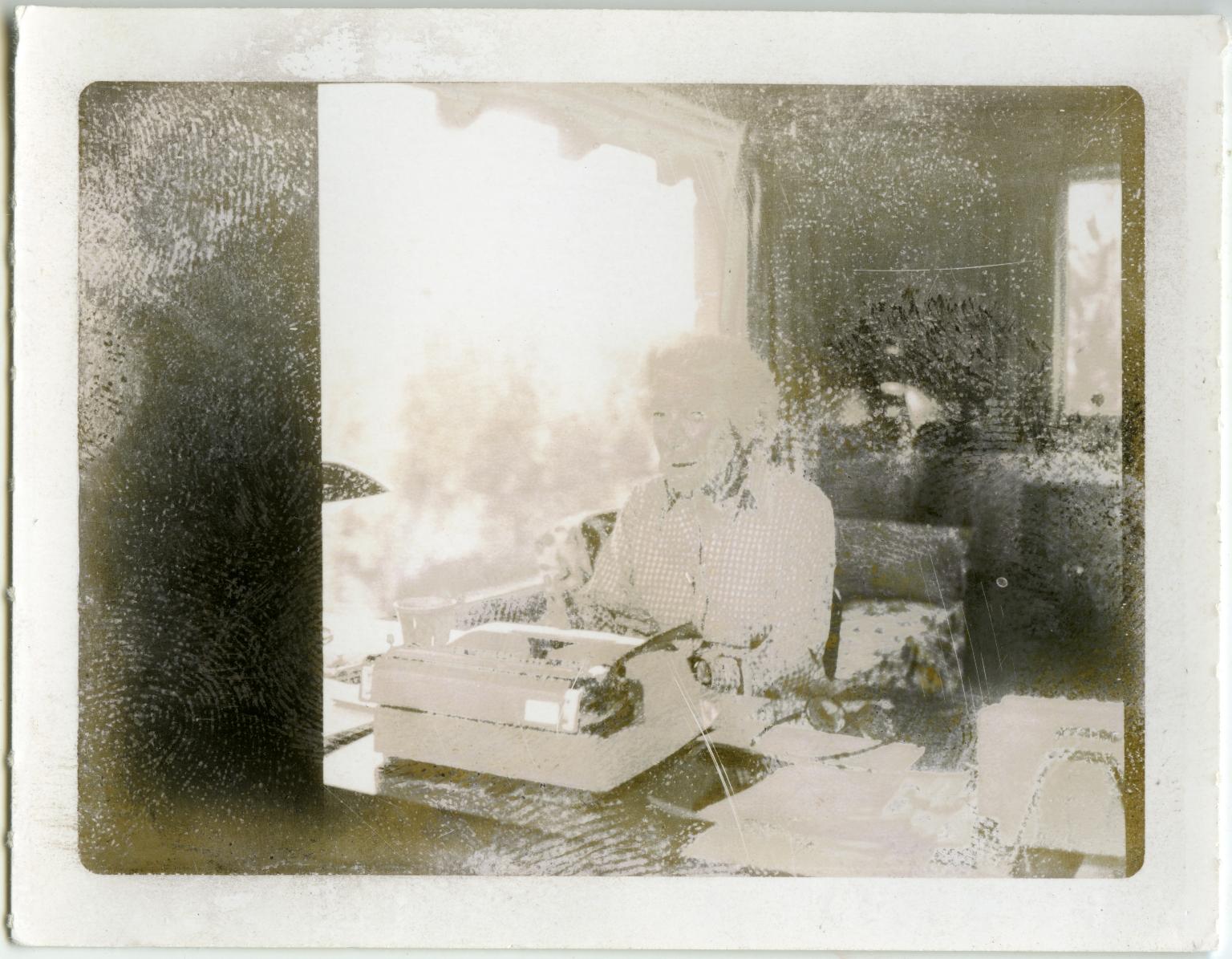 Mary Hemingway at Desk in Ketchum